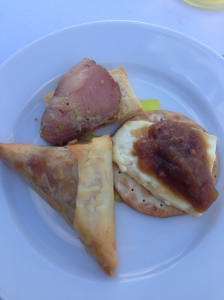 Black pudding samosa; special camembert; and gin infused tuna
